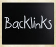 """Backlinks"" handwritten with white chalk on a blackboard"