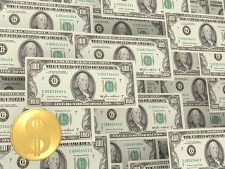 Кнопка доллар на фоне купюр