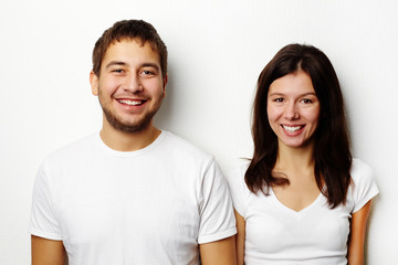 Couple in white T-shirts