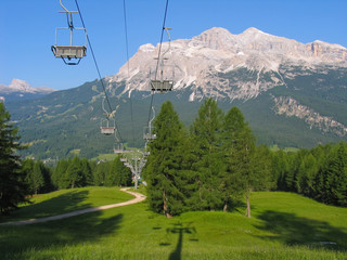 Chairlift in summer in Italy. Ski lift