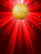 Sparkling red disco ball. EPS 8