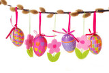 Fototapety easter border with hanging eggs