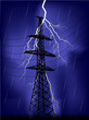 bright lightning and electrical pylon