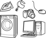 set of isolated electronic objects by line, home appliance poster