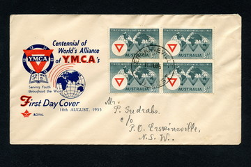 "Vintage australian first day cover ""Centenary of YMCA"""