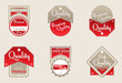 Brown-red quality labels.Vector illustration.
