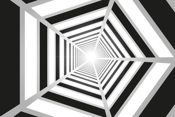 Light in the end of the tunnel | Optical illusion. Vector