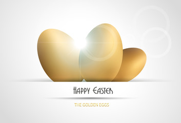 Easter background with golden eggs.Vector illustration.