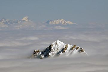 Winter view from Kitzsteinhorn peak ski resort, Austria