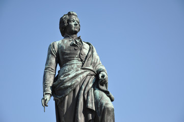 The statue of Wolfgang Amadeus Mozart in Salzburg, Austria