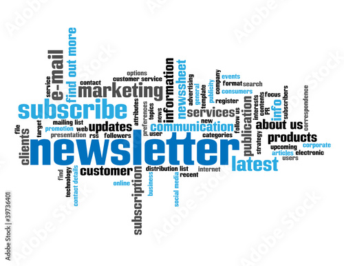 """NEWLETTER"" Tag Cloud (customer information marketing about us)"