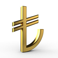 3d Gold TL symbol(Turkish Liras)isolated