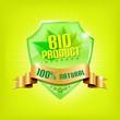 Glossy green shield and golden ribbon - BIO PRODUCT