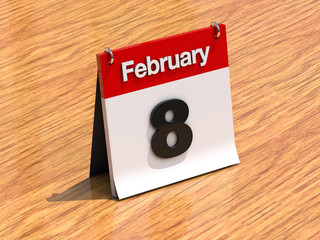 Calendar on desk - February 8th