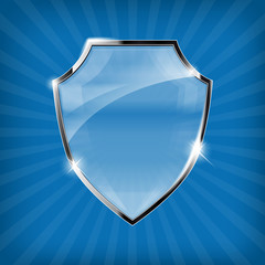 Glossy security shield on blue background - vector