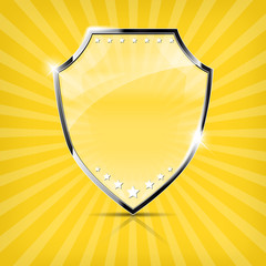Glossy security shield on yellow background - vector