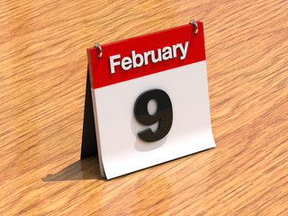 Calendar on desk - February 9th
