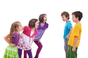 Kids confronting and mocking each other