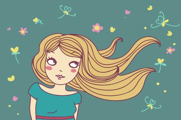 ragazza bionda col vento nei capelli
