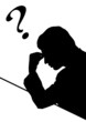 Businessman thinking with question mark. vector file