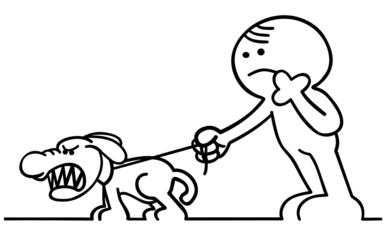 figur mit bissigem hund