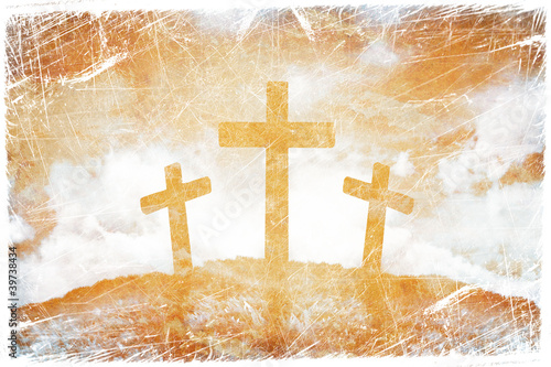 Silhouette of three crosses on a grunge background
