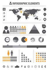 infographic elements grey/orange