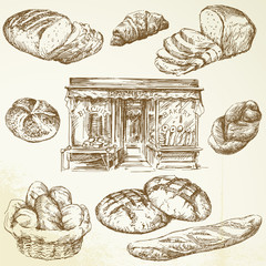 bread, bakery - hand drawn collection