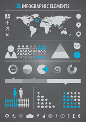 infographic elements grey/blue