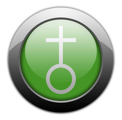 "Green Metallic Orb Button ""Church"""