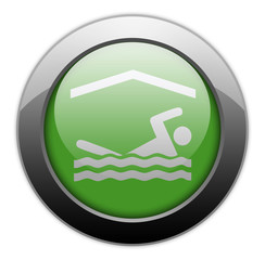 "Green Metallic Orb Button ""Indoor Swimming"""