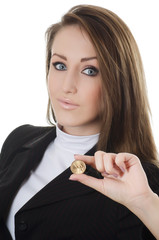 The business woman with a coin