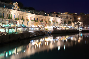 Night View Of Valletta Waterfront, Malta