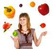 Woman juggling with fruits and vegetables