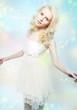 Beauty - attractive gentle blonde girl in white dress