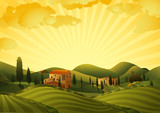 Fototapety Rural landscape with fields and hills