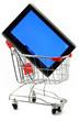 tablet-pc in einkaufswagen