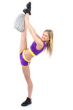 cheerleader woman dancer in modern twine pose