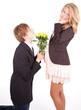 young pregnant couple, boyfriend begging girl