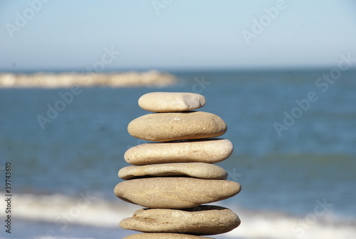 relaxing pile of  stones on the beach