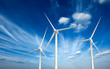 Leinwanddruck Bild - Wind generator turbines in sky