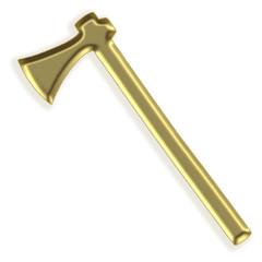 Silhueta dourada de um machado