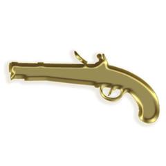 Silhueta dourada de uma pistola antiga