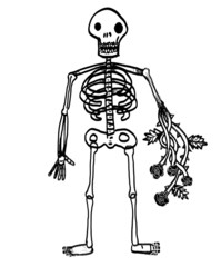 skeleton with roses in arm