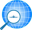 blue icon with plane in magnifier on planet background