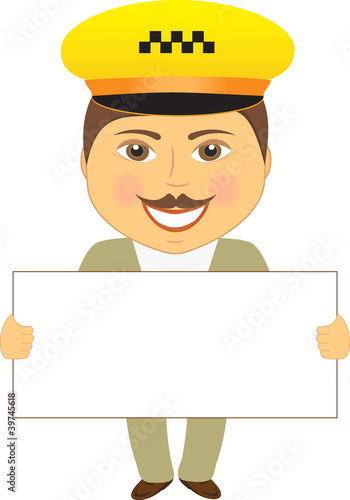 isolated taxi driver with poster in hands