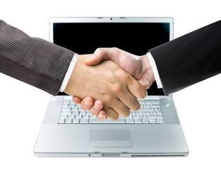 Handshake and Laptop