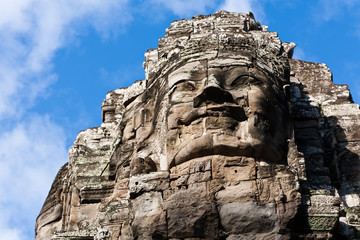 Detail of giant stone head statue at Angkor Wat
