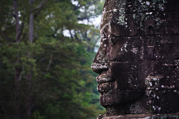 Stone face and jungle at Angkor Wat