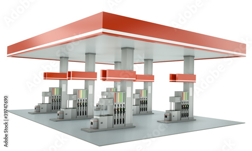 Gas station isolated on white background. 3D render